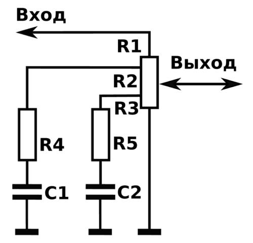 схема тонкомпенсированного регулятора громкости