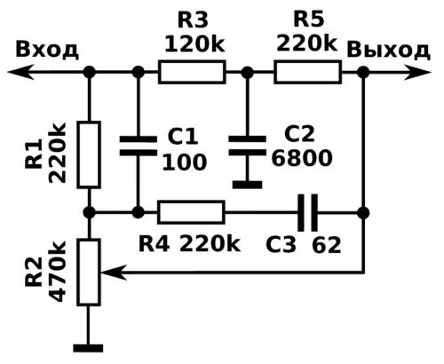 схема тонкомпенсированного регулятора громкости на резисторе без выводов