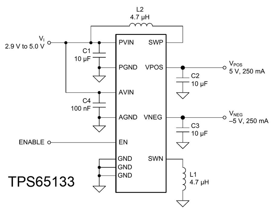 Двухполярное питание из однополярного, преобразователь однополярного напряжения в двухполярное на TPS65133