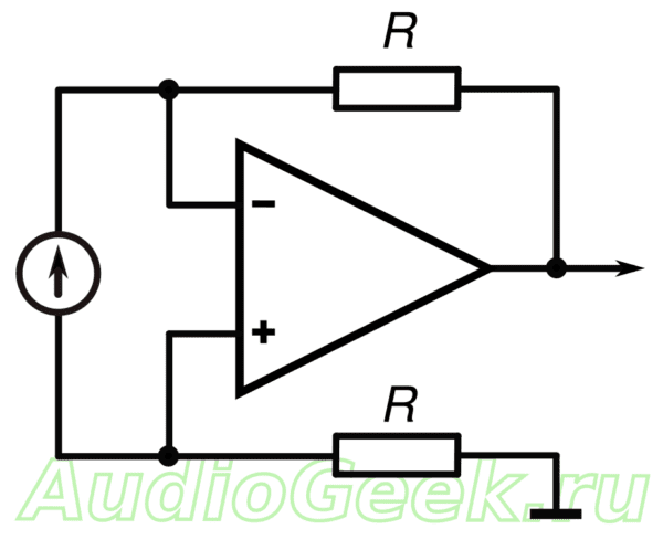 Преобразователь ток-напряжение на ОУ, cхема преобразователя ток-напряжение