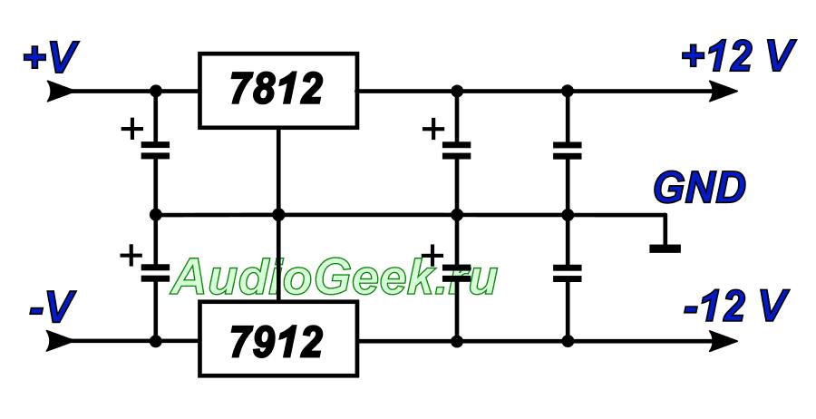 двухполярный стабилизатор напряжения на 7812 и 7912