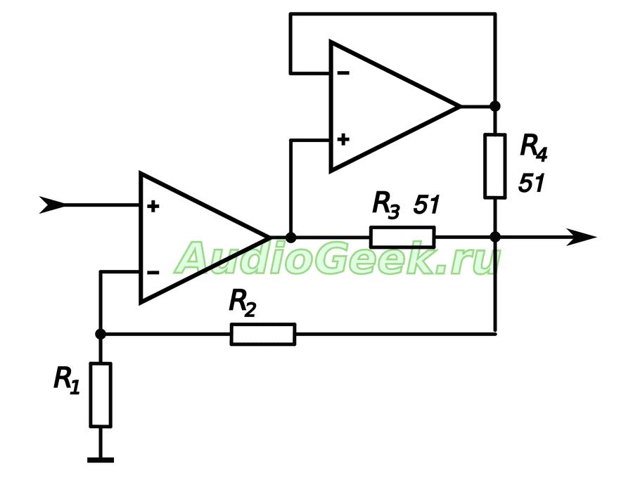 Схема усилителя для наушников на ОУ с удвоенным выходным током