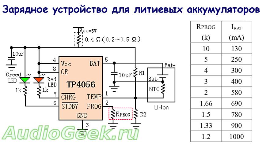 схема зарядки на tp4056