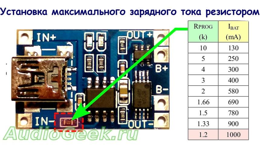 установка тока заряда литиевого аккумулятора
